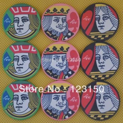 CP-008 J Q K 10G ceramic poker chip set without case - 50 piece