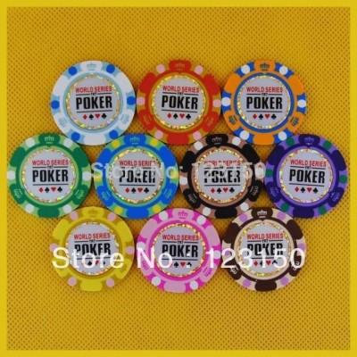 PN-8002  50pcs/pack Clay 14g Poker Chips insert metal Golden Edge
