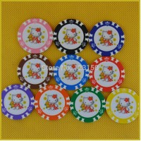 6006-Hello Kitty   50pcs/pack Clay 14g Poker Chips insert metal, no face value chips, Free shipping