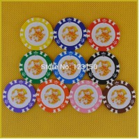 6006-Dragon  50pcs/pack Clay 14g Poker Chips insert metal, no face value chips, Free shipping