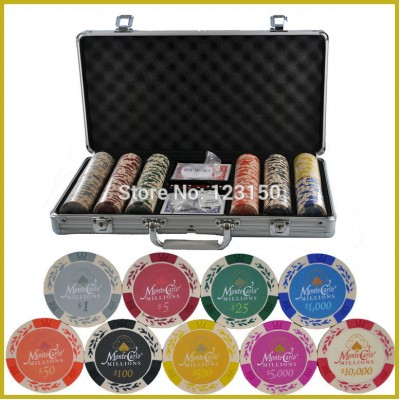 PK-8001 300pcs chip set, 13.5g per chip, include 200pcs chips with one aluminum case, Free shipping