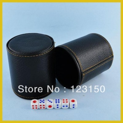 DC-004 Black PU Leather Dice Cup with inside black palstic material,   in high quality