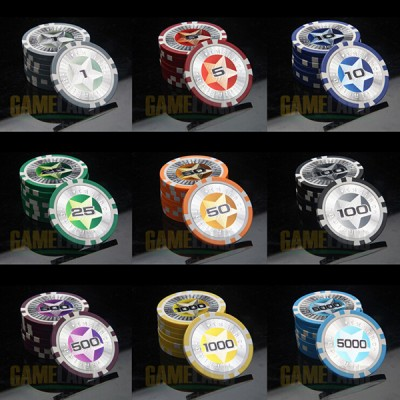 5Pieces/Lot Poker Pattern Laser Chip Clay&Iron Core Poker chips Upscale Russian casino chip set pokerstars professional products