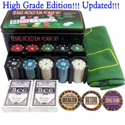 Updated! Free Shipping High quality 200 chips set with Fancy Dealer Poker Cards baccarat table poker chips pokerstars party game
